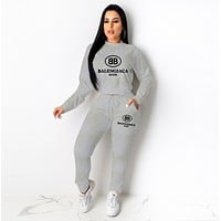 balenciaga Casual Print Hoodie Top Sweater Pants Trousers Set Two-piece High quality Sportswear Gray