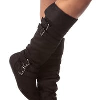 Black Faux Suede Calf Length Buckled Up Boots