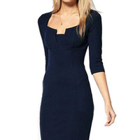 Navy Bodycon Sleeve Mid Pencil Dress