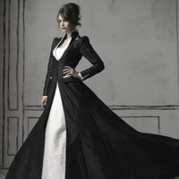 Black and White Long Sleeves Gothic Wedding Dress - DevilInspired.co.uk