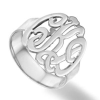 Script Monogram Ring in Sterling Silver (3 Initials) - Personalized Rings - Shared - Zales