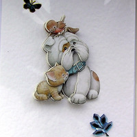 Puppy Love Hand-Crafted 3D Decoupage Card - Blank (1656)