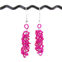Hot pink earrings, wire wrapped day earrings with light pink  seed beads , silver plated earring wires uk seller