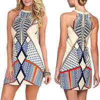 Funky Abstract Print  Ladies Tank Shift Dress
