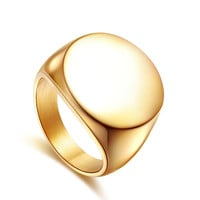 fine jewelry Biker ring 316L Stainless Steel Polished Silver Tone Round Signet Ring for women & men
