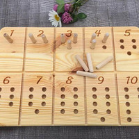 Waldorf / Montessori Inspired Number Counting Tracing Board, School Toy, Natural Wood Educational Toy, Wooden Number Counting Tracing Board