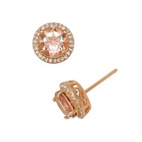 14k Rose Gold Over Silver Morganite Triplet & Lab-Created White Sapphire Halo Stud Earrings (Pink)