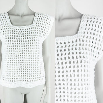 Vintage 80s Top / 1980s White Open Knit Handmade Short Sleeve Sweater S M