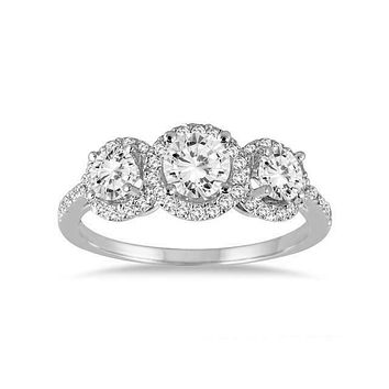 CERTIFIED 1 1/3 Carat TW REAL Diamond Three Stone Halo Ring in 14K White Gold