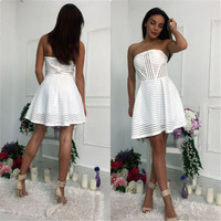 Strapless Pleated Stripe Hollow Out Short Dress