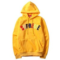 Supreme Fashion Women Men Leisure Letter Long Sleeve Hoodie Pullover Sweater Top Yellow I