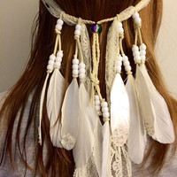 White ivory, boho bride, lace, veil, feather headband, tribal headband, featival fashion, coachella, Feather hair comb, bridal hair comb,
