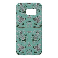 Gray and Teal Flowers and Shapes Samsung Galaxy S7 Case