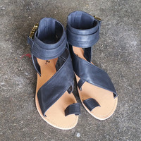 A Buckled Sandal in Black