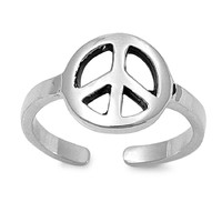 Sterling Silver Peace Sign Toe Ring/ Knuckle/ Mid-Finger 19MM