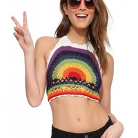 Rainbow Knit Crochet Top