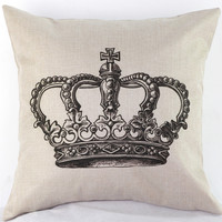 Crown Home Sofa Decorative Throw Pillow Case Lovers Cushion Cover
