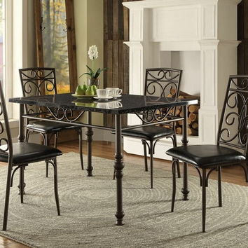Home Elegance 5268-48 5 pc dryden collection faux marble top dining table set with upholstered seats