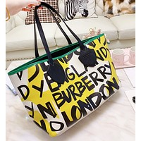 BURBERRY Fashion Women Shopping Bag Graffiti Leather Tote Handbag Shoulder Bag Satchel