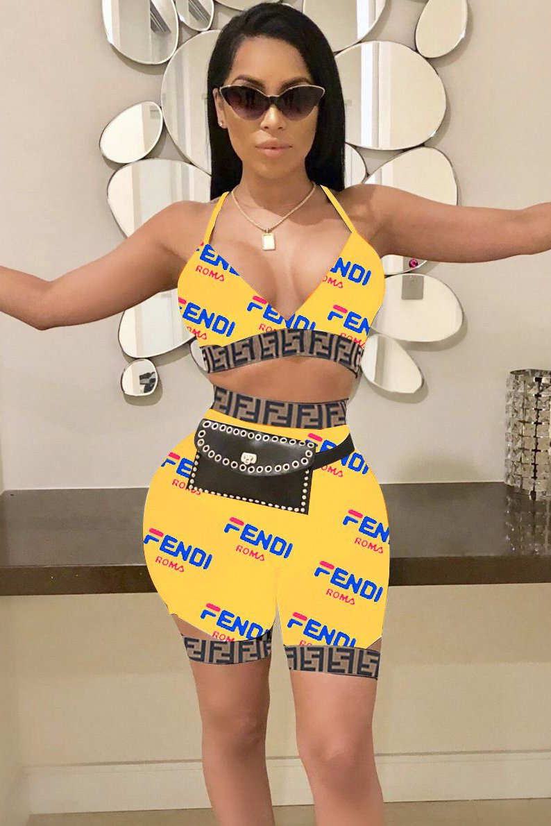 Image of Fendi tide brand female models sexy wild two-piece Yellow