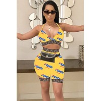Fendi tide brand female models sexy wild two-piece Yellow