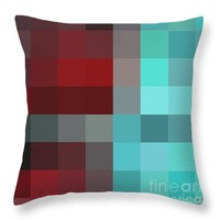 "Burgundy Tartan II Abstract Pixel Art Digital Mixed Media Painting by Megan Duncanson Throw Pillow 14"" x 14"""