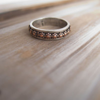 Daisy Ring, Sterling Silver Ring for  Women, Silver and Copper Flower Band, Flower Ring, Stacking Ring, Narrow Silver Band, Daisy Jewelry