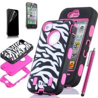 Pandamimi ULAK Rose Pink White 3in1 Zebra Combo Hard Soft High Impact iPhone 4 4S Armor Case Skin Gel with Free screen protector and Stylus
