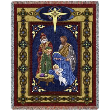 Christmas Nativity Afghan Throw Blanket