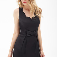 LOVE 21 Scalloped Bow-Front Dress
