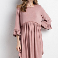 """""""Marie"""" Babydoll Dress, Rosa Taupe"""