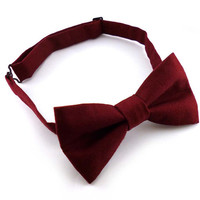 Burgundy bow tie mens – pre tied adjustable bow tie – red wine cotton bow tie – adult size wedding groomsmen bowtie