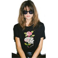 New arrival women T Shirts Fashion Voodoo Skull Design o-neck Casual Tops Hipster Flower Skull Printed female T-Shirt Cool Tee