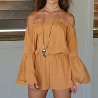 Manresa Beach Camel Off The Shoulder Romper