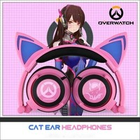Overwatch Dva LED Kitty Cat Ear Headphones