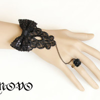 Gothic Art Vintage Bowknot Decoration Black Lace Bracelet Cuff Strap with Rose Ring Chain Attach WS-208