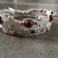 Two in One Bracelet, Natural Hemp, Country Girl Jewelry, Unique Gift, Christmas Gift, Gemstone Jewelry, Cross jewelry, Free Shipping in USA