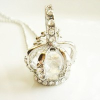 Statement Princess Crown Sweater Necklace