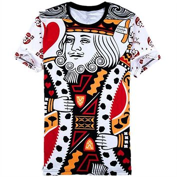 Cool Funny 3D Poker Printed T-Shirts Playing Cards king and queen couple t shirts Graphic Top Tees 5XL 6XL Plus Size TshirtAT_93_12