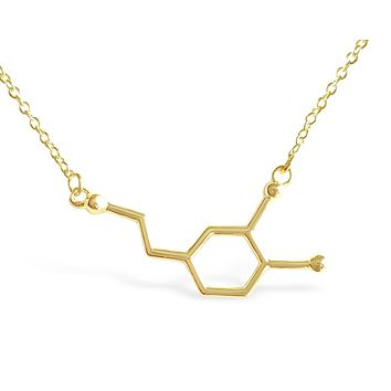 Chemical Structure Dopamine Molecule Necklace