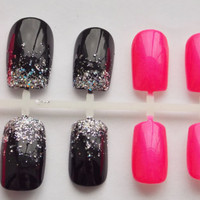Neon Pink and Black Glitter Gradient Fake Nails - False, Artificial, Acrylic, Press-On