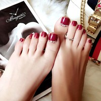 24 Pcs/set Rhinestone Decoration Summer Toe Fake Nails Wine Red Artificial Short Square Press on Nail Tips for Home Office Party
