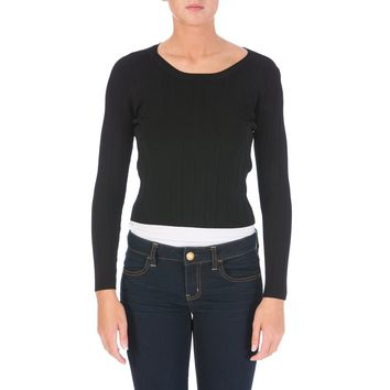 Carven Womens Knit Crop Pullover Sweater
