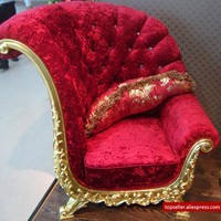 High - end club studio Russian- style sofa glass coffee table corner red solid stool living room furniture set
