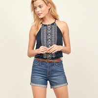 Embroidered High Neck Tank