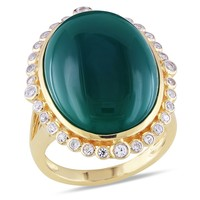 15 1/7 Carat Green Onyx Created White Sapphire Fashion Ring  Yellow Silver Yellow Plated
