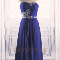Dark Royal Blue Beaded Long Prom Dresses 2015 , Bridesmaid Dresses, Homecoming Dresses, Evening Dresses, Wedding Party Dress, Formal Dresses