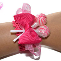 Hot Pink Lollipop Wrist Corsage, Prom Corsage, Wedding Corsage, flower girl, corsage, pink wedding, candy, birthday, birthday girl