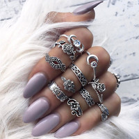 Vintage Boho Antique Silver Color Moon And Sun Midi ring Sets 11pcs/set