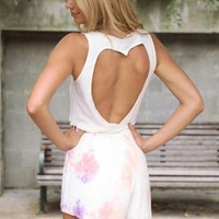 White Sleeveless Crop Top with Heart Cutout Back Detail